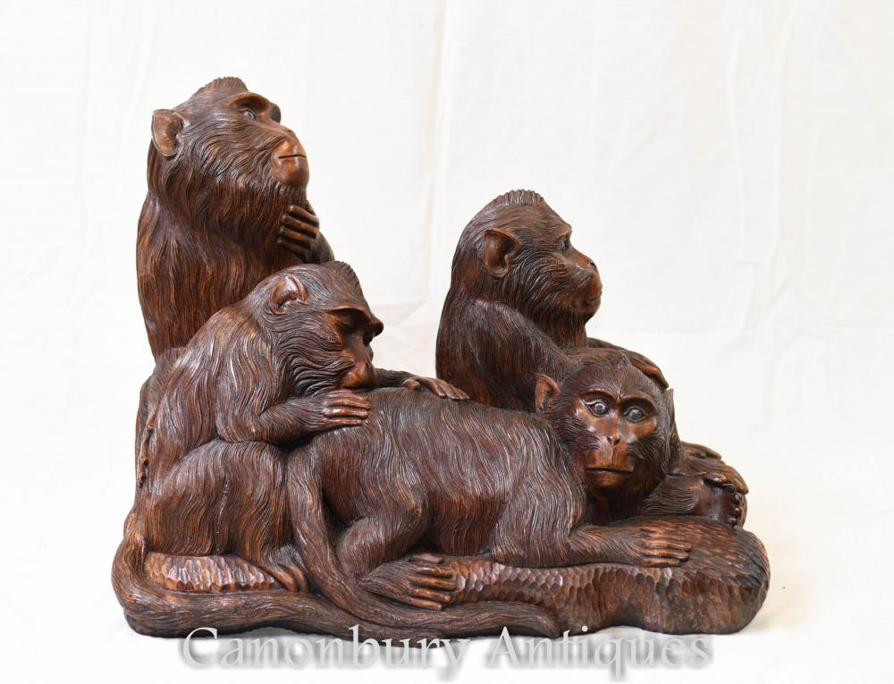 Hand geschnitzte Schwarzwälder Affe Carving Chimp Troop Gibbon