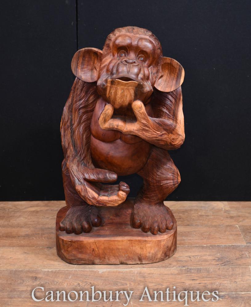 Hand geschnitzte freche Affe Statue Black Forest Carving