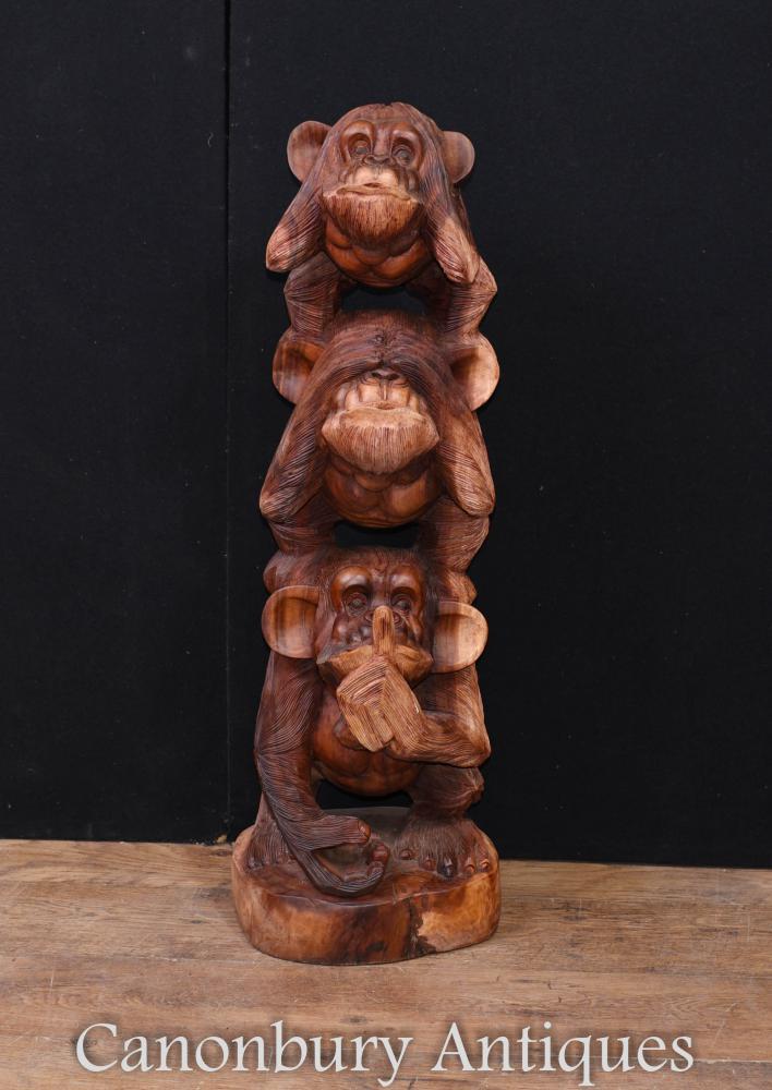 Large Monkey Carving Siehe hören, keine böse Chimp Ape