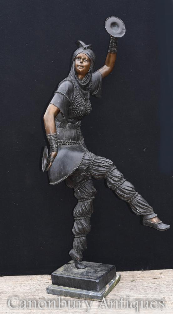 Lebensgroße Art Deco Bronze Chiparus Tamburin Tänzer Statue