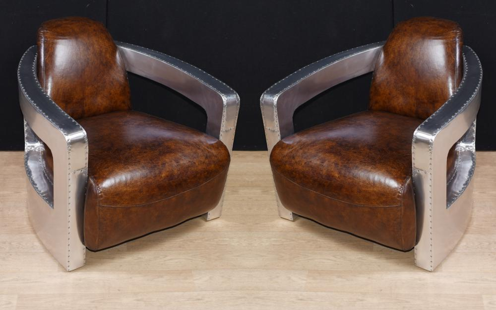 Paar Aviator Art Deco Club Stühle Chrom Lederarm