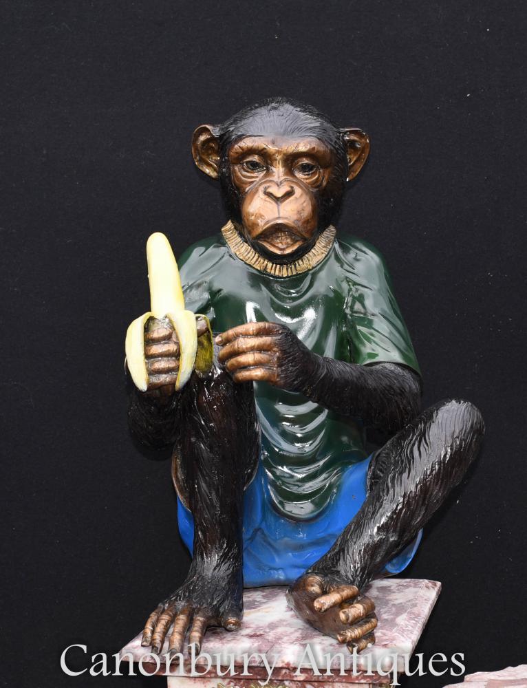 Paar Bronze Monkey Statuen Schimpanse Ape