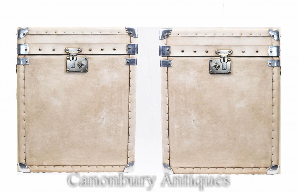 Paar Englisch Leder Steamer Trunk Gepäck
