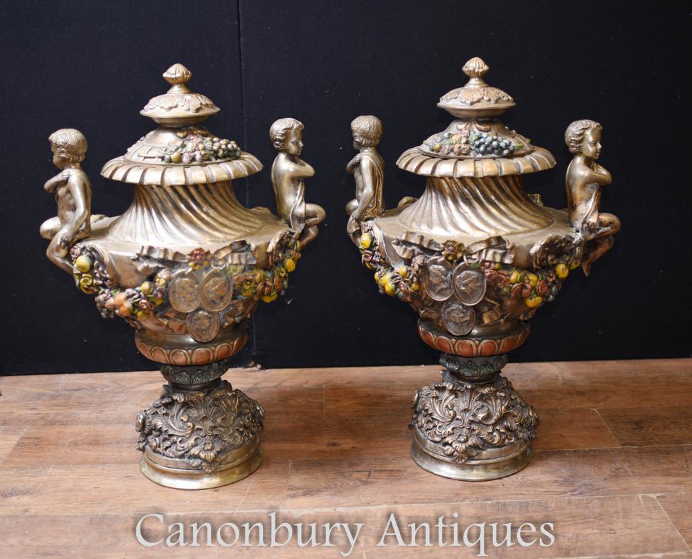 Paar Französisch Jugendstil Antik Bronze Garten Urnen Vasen Cherub