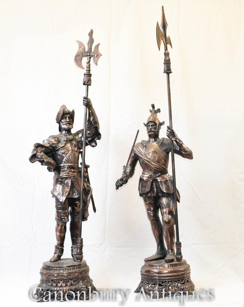 Paar Metall Spelter Englisch Ritter Statuen Schloss Chic Soldaten
