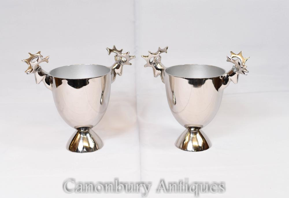 Paar Silver Plate Weinkühler Champagner Buckets Hirsche