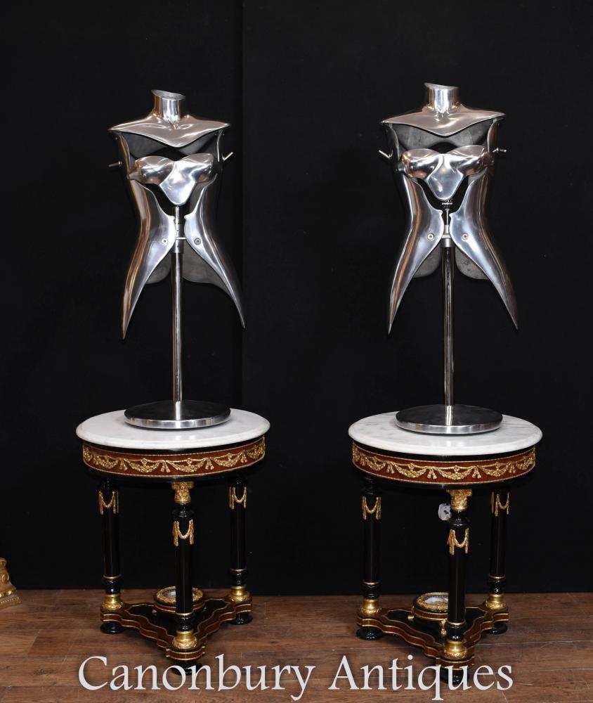 Paar Vintage Metall Mannequin Tischlampen architektonische Bergung Lichter