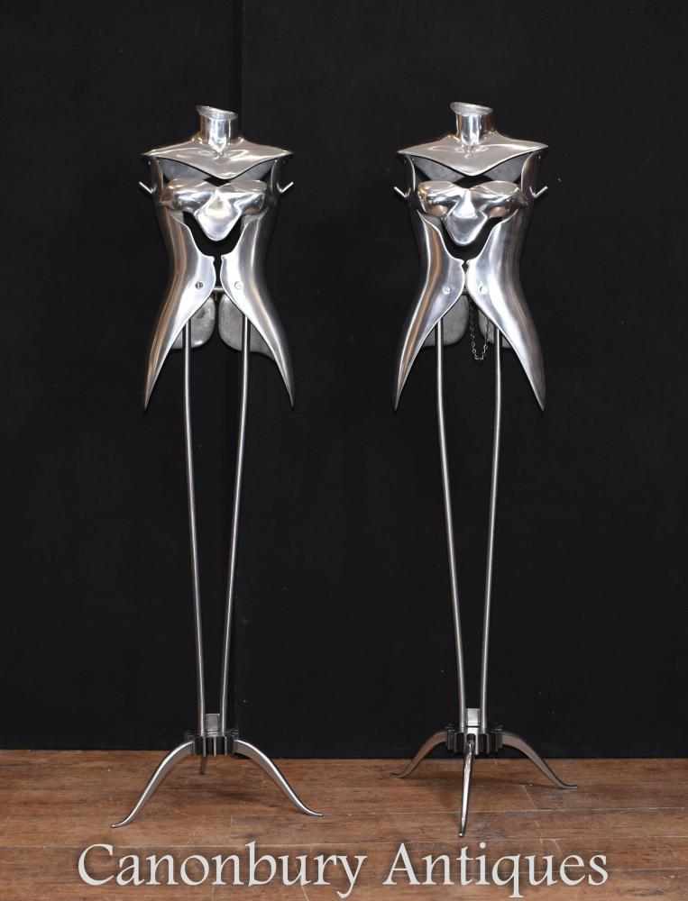Paar Vintage Metall Mannequins architektonische Bergung