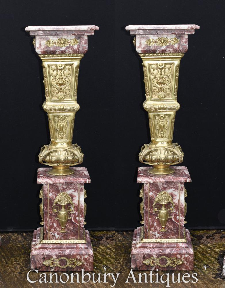 Paar französische Marmorsäule Säulenständer