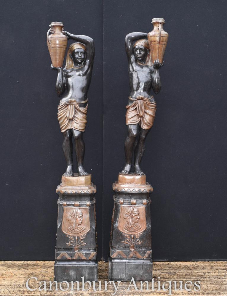 Paar große Bronze Blackamoor Statuen Garten architektonischen Figuren
