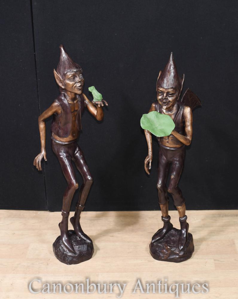 Paar große Bronze Pixie Garden Statuen Elph Celtic Fairey
