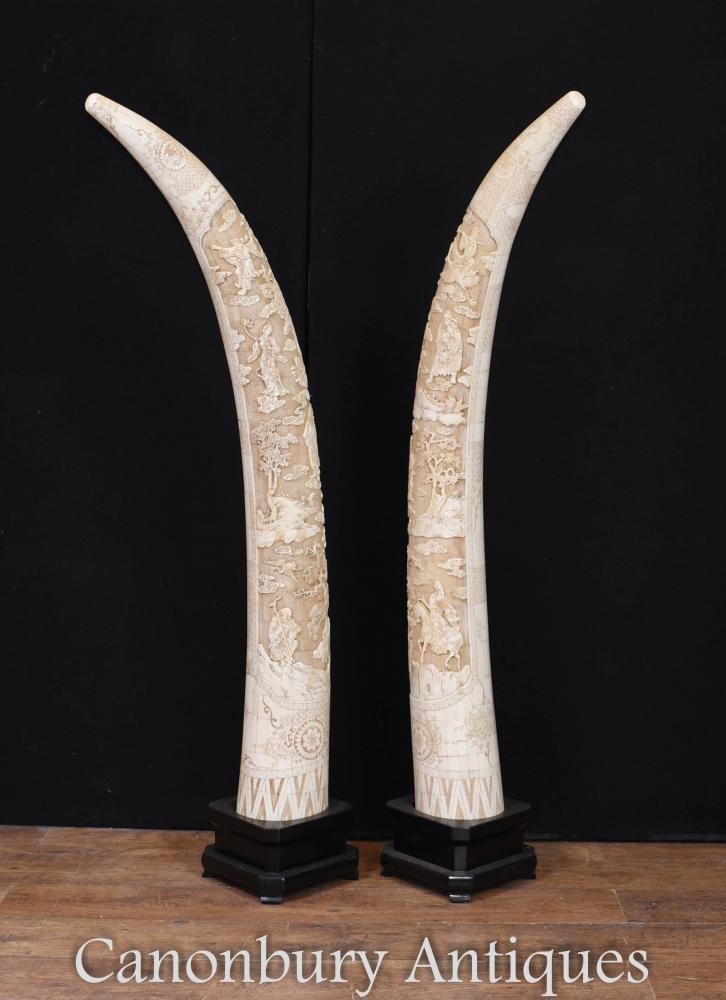 Paar riesige geschnitzte chinesische Knochen Display Tusks architektonische Innenräume