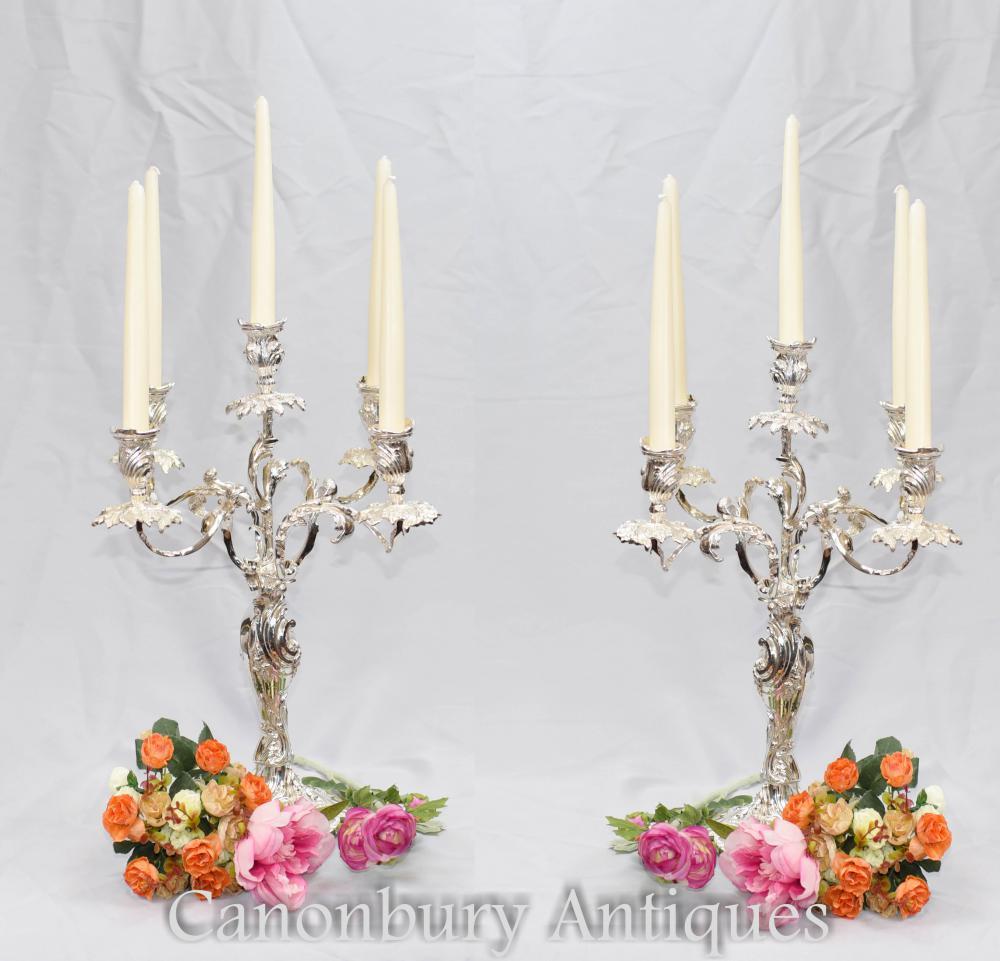 Paar viktorianische Silberplatte Rococo Candelabras