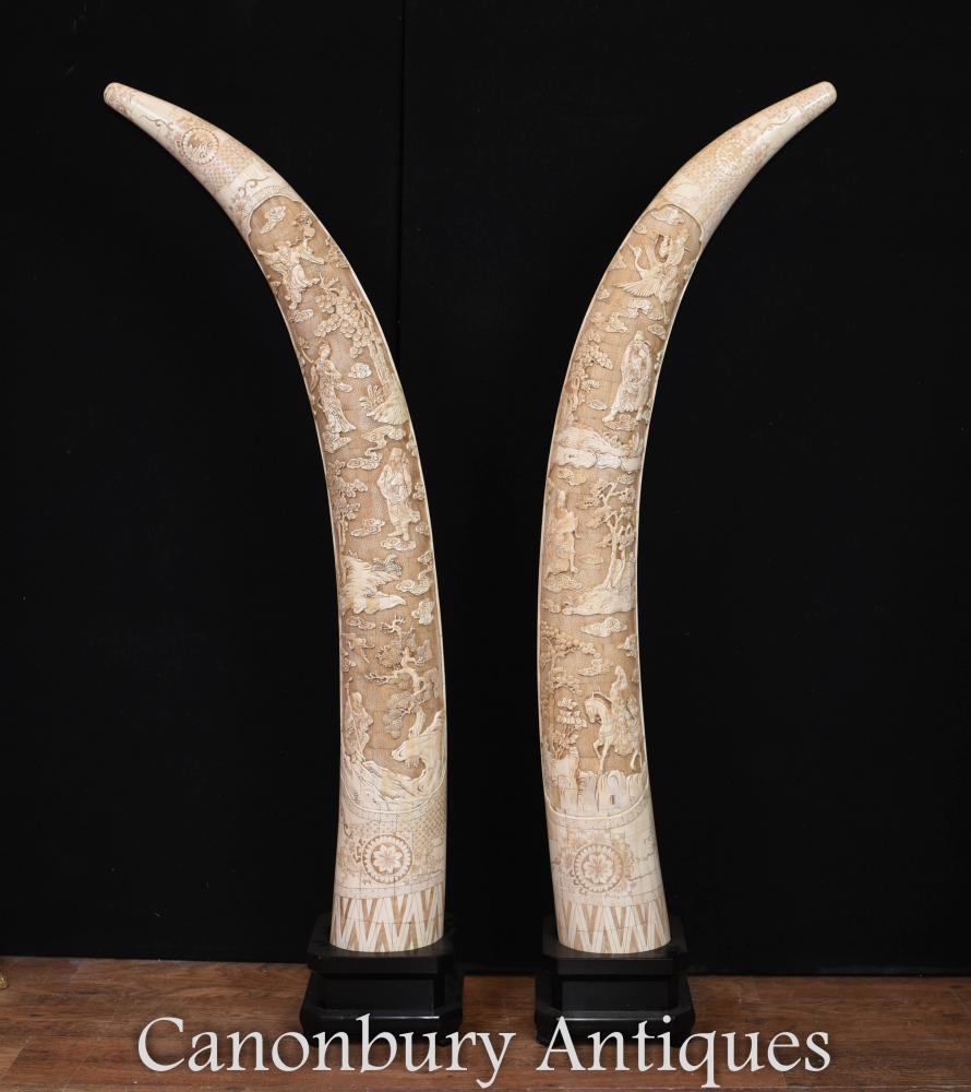 Paare große chinesische geschnitzte Handknochen-Stoßzahn-Anzeigen Architektur