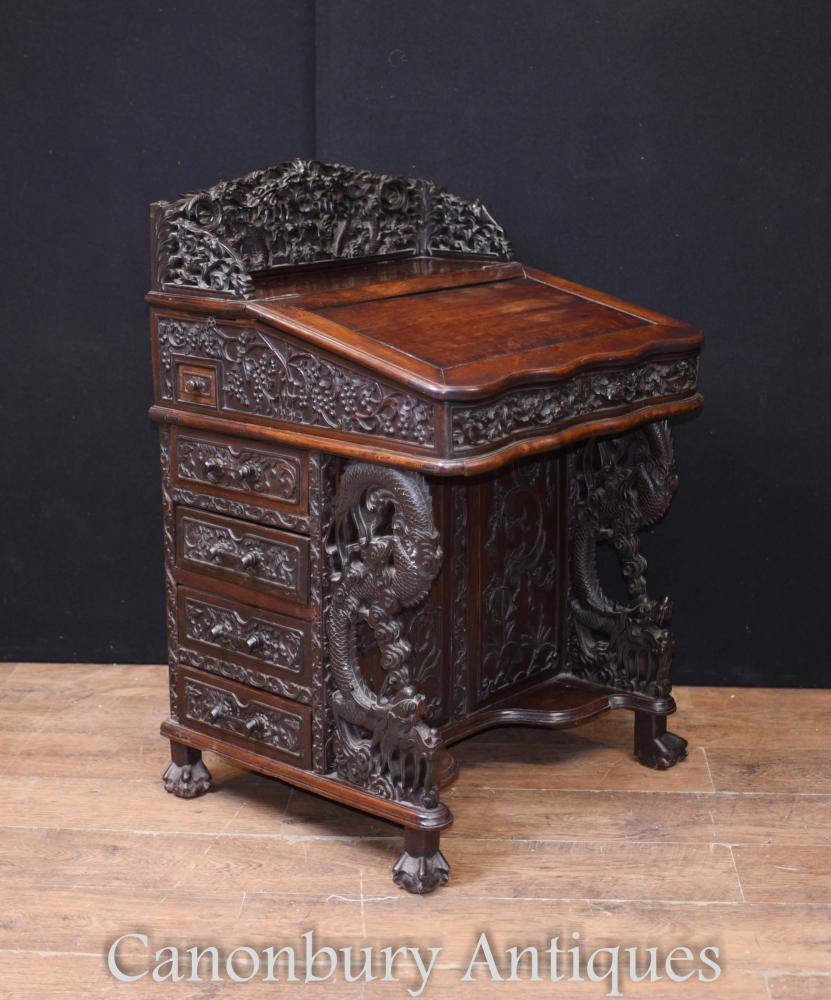 Seltene antike chinesische Davenport Schreibtisch Hand geschnitzt Hartholz 1860