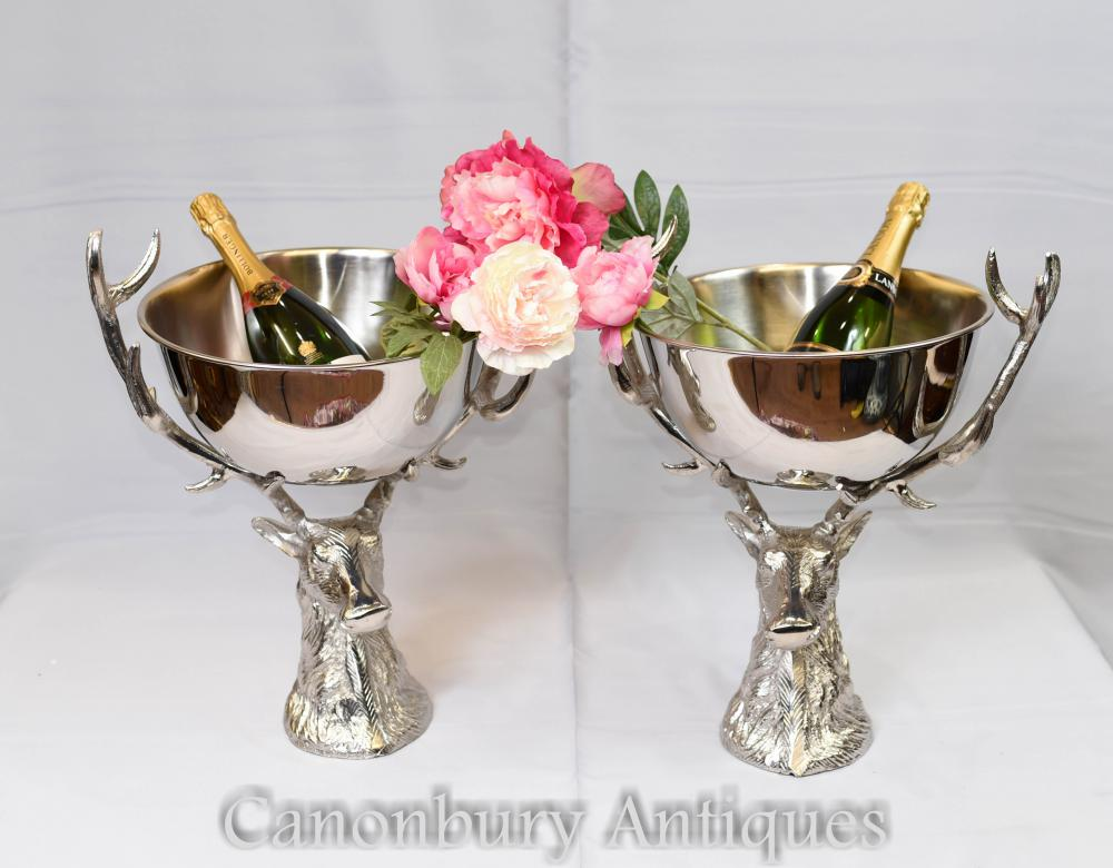 Silver Plate Paar Stag Champagner Kühler Wein Bowl Punch