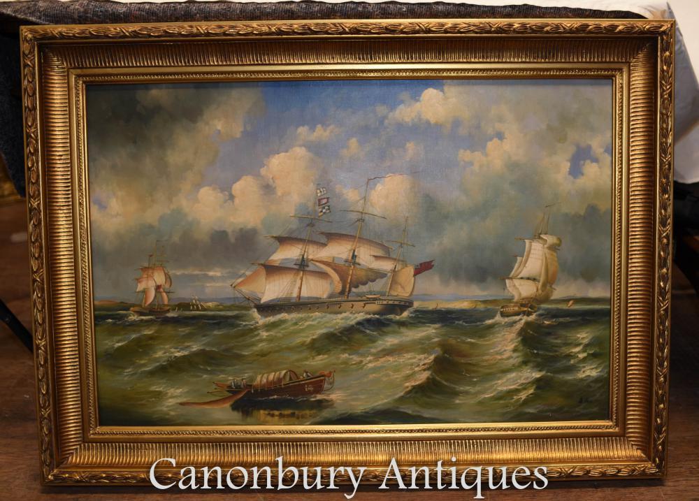 Victoria Maritime Seascape Ölgemälde Schiff Galleon Vergoldung Rahmen