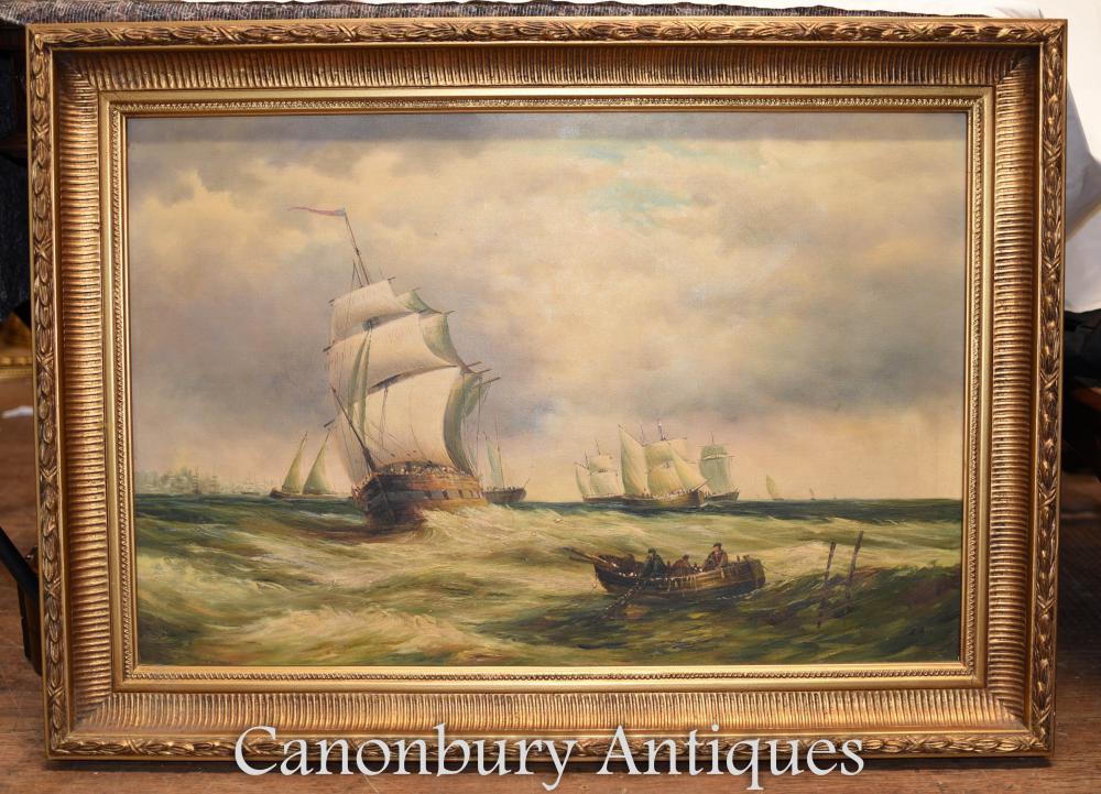 Victorian Ölgemälde Maritime Seascape Galeone Schiff Signed A Hess