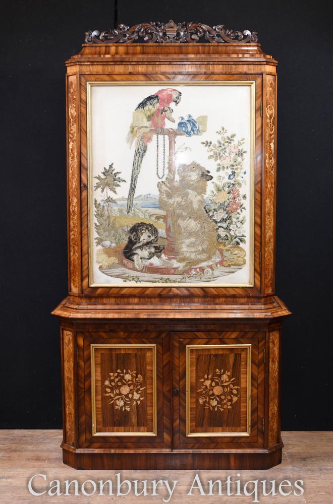 Viktorianische Bibliothek Walnut Inlay Cabinet Woven Tapisserie 1840