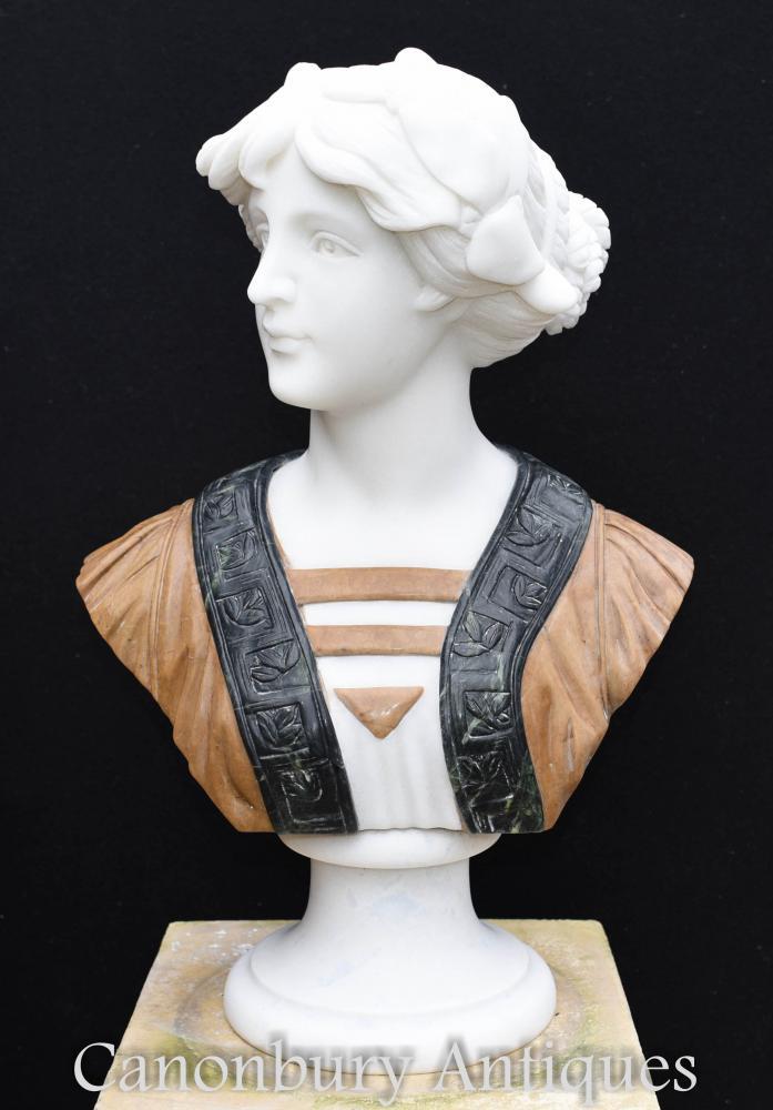 Viktorianische Hand geschnitzte Marmor Büste Lady Statue