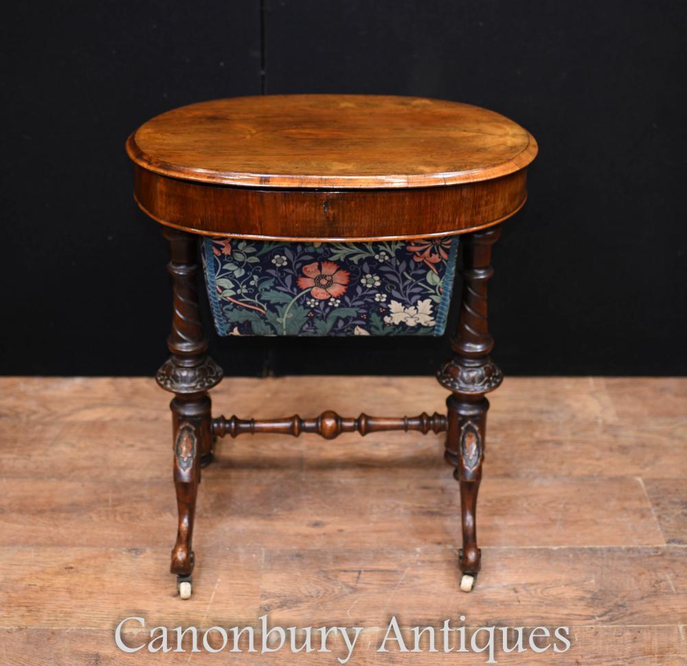 Viktorianische Nähtisch-Walnuss-Antiken-Tabellen