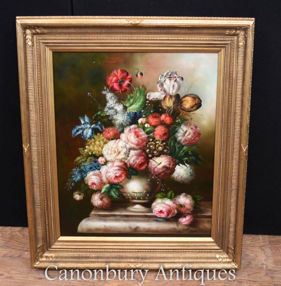 Viktorianisches Blumen-Stillleben-Spray-Ölgemälde-Vergoldungs-Rahmen