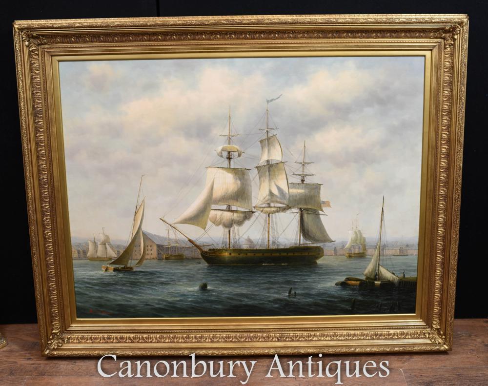 Ölgemälde Clipper Segelschiff Liverpool Docks Mersey Victorian