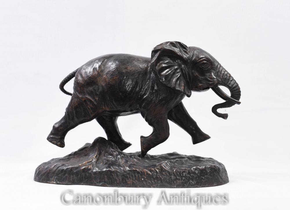 Afrikanischer Elefant Bronze Statue Tier Casting