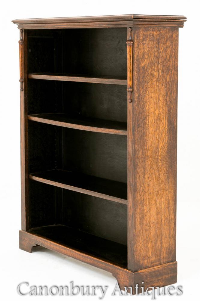Antike Eiche Open Front Bücherregal Einfache Form