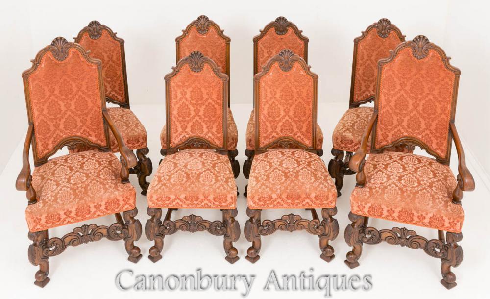 Antike Eichen Esszimmerstühle Set 8 Circa 1870
