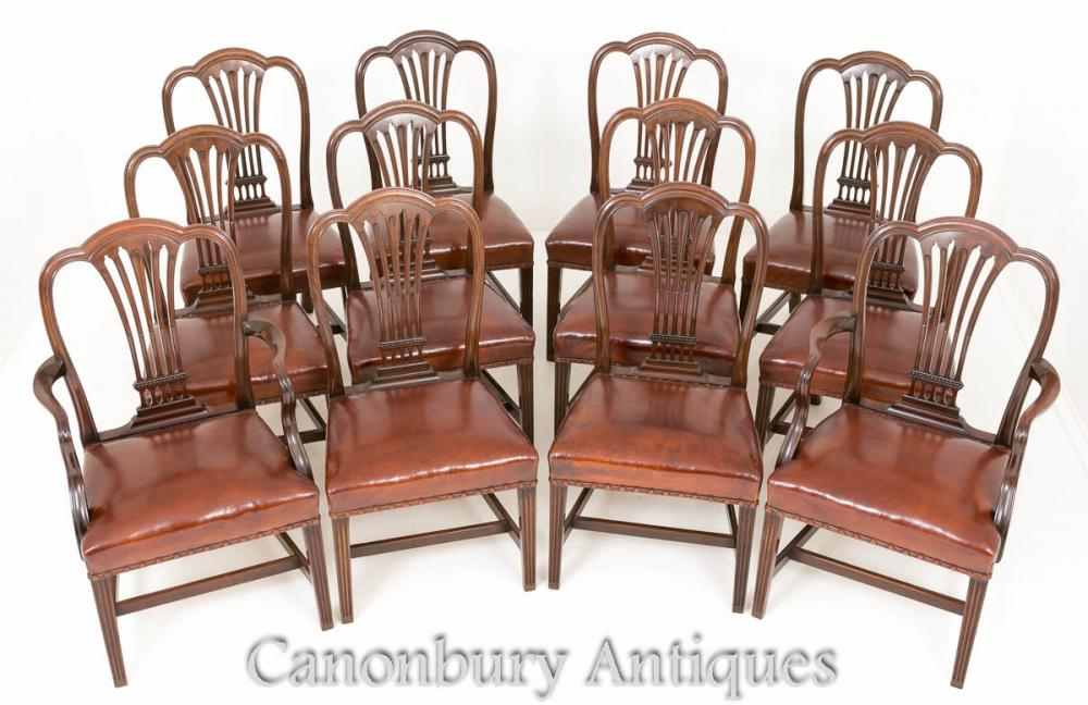 Antike Hepplewhite Esszimmerstühle - Set 12 Mahagoni Chair 1880