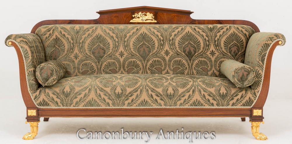Antikes Französisches Reich Sofa Couch 1860