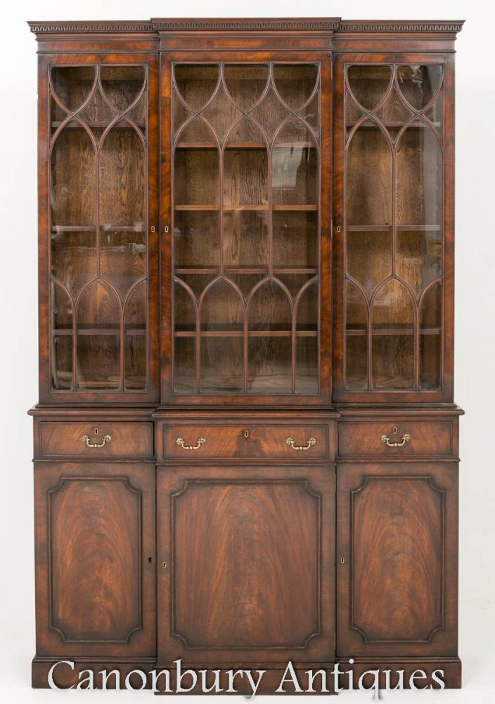 Antikes Mahagoni Breakfront Georgian Bookcase