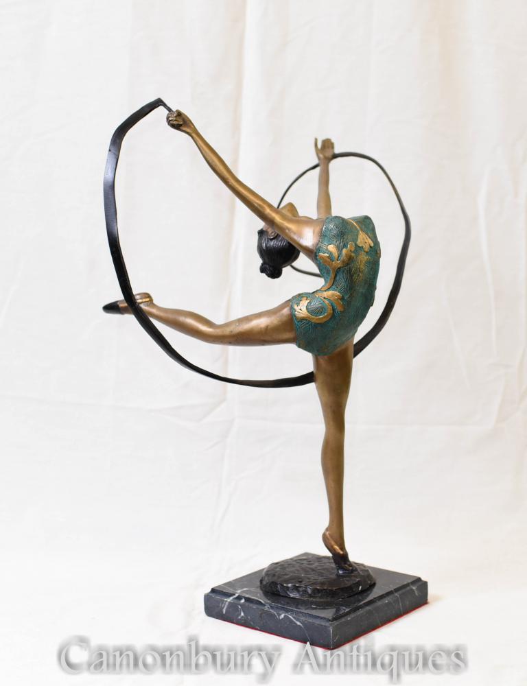 Art Deco Bronze Schärpe Tänzer Figur Tänzer