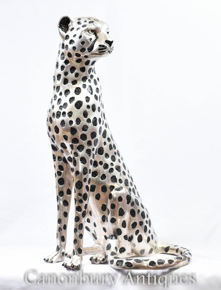 Bronze Sitz Cheetah Statue - Tier Katze Leopard Casting