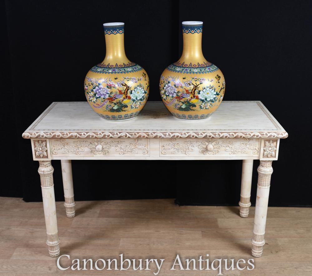 Chinesische Hand geschnitzte Bibliothek Tisch Knochen Schreibtisch