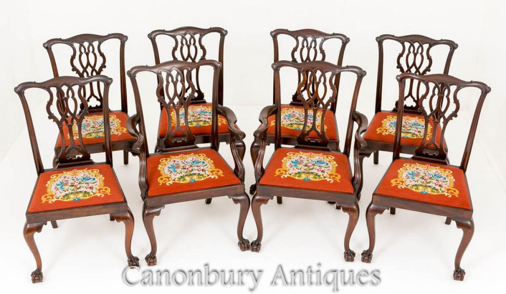 Chippendale Esszimmerstühle - Antik Mahagoni Set 8