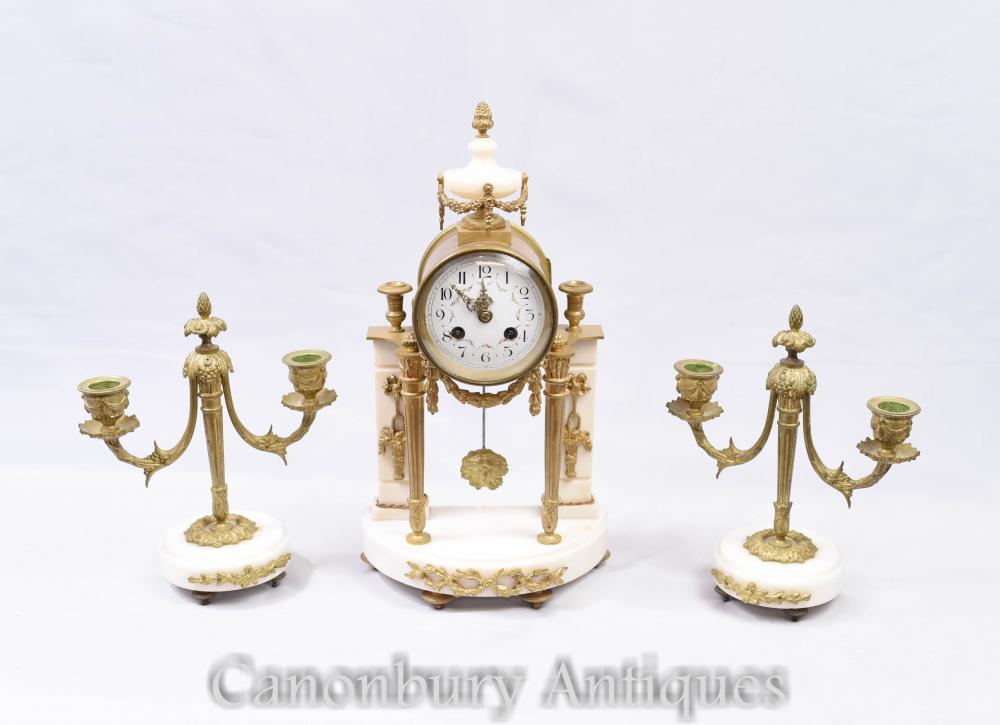 Empire Mantle Uhr Garniture Set - Marmor Ormolu Kerzenleuchter