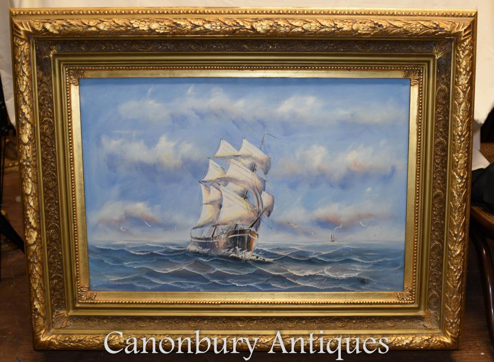 Englisch Ölgemälde Schiff Sea Scape Maritime Kunst