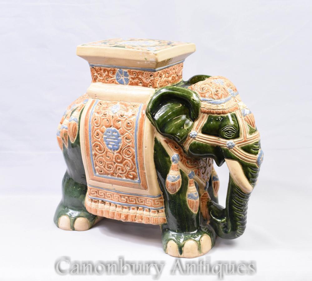 Englisch Majolika Keramik Elefant Sitz Raj