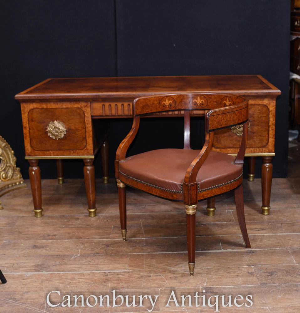 Französische Antike Kunst und Handwerk Schreibtisch und Stuhl Set Bureau 1900