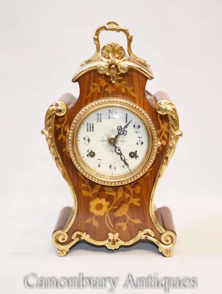 Französische Rokoko-Mantel-Uhr-Intarsien-Einlegearbeit