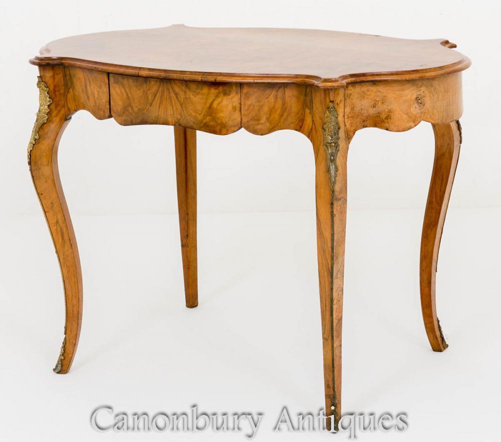 Französischer Empire Center Tisch Burr Walnut Circa 1860