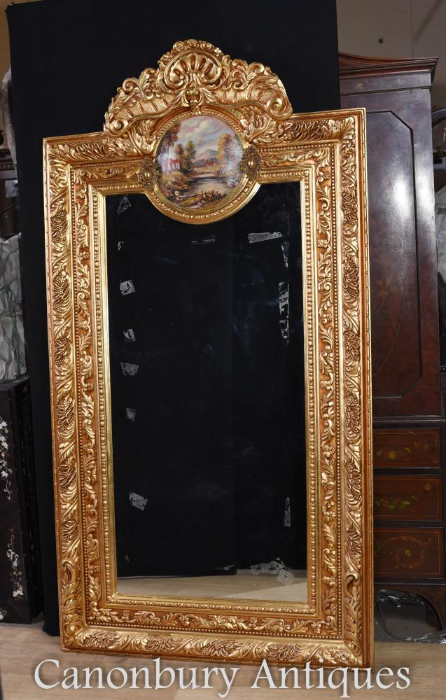 Französischer Vergoldungs-Pier-Spiegel Louis XV Painted Plaque