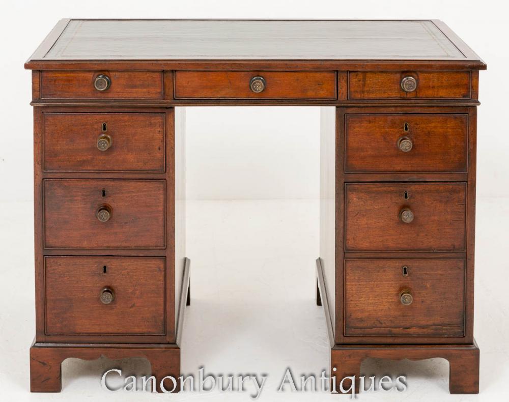 George III Schreibtisch - Mahagoni Knie Loch Podest Schreibtische