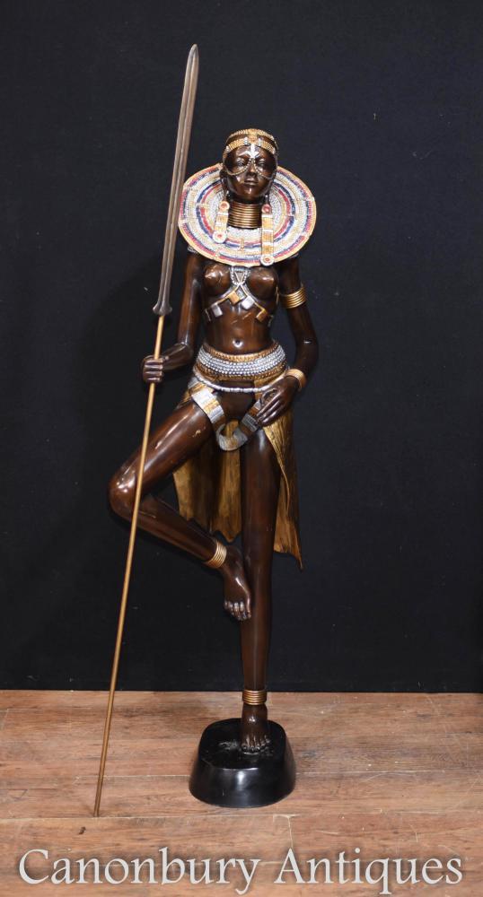 Große Bronze African Tribe Woman Statue Massai