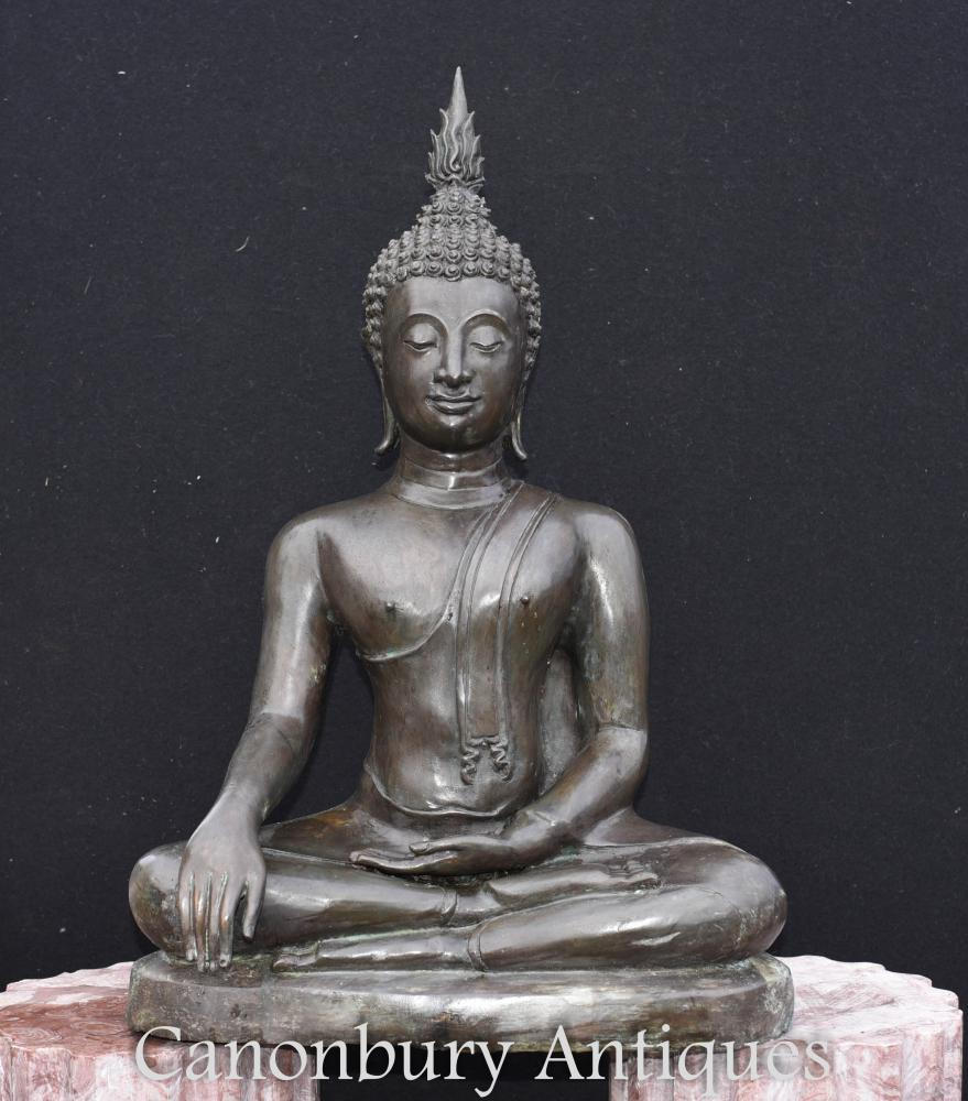 Große Bronze tibetische Buddha Statue Meditation Pose Buddhismus