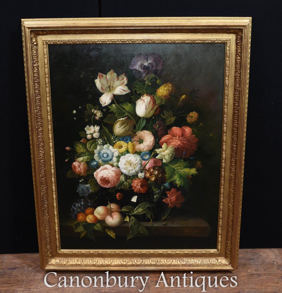 Großes Blumenspray-Ölgemälde-viktorianische Kunst