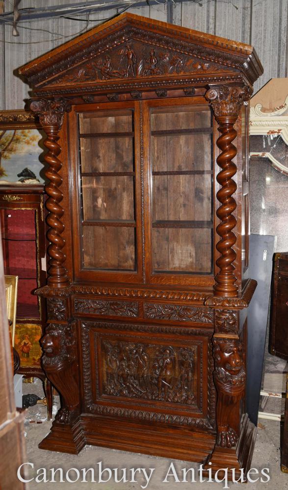 Großes englisches antikes geschnitztes Bücherschrank-Kabinett Circa 1860