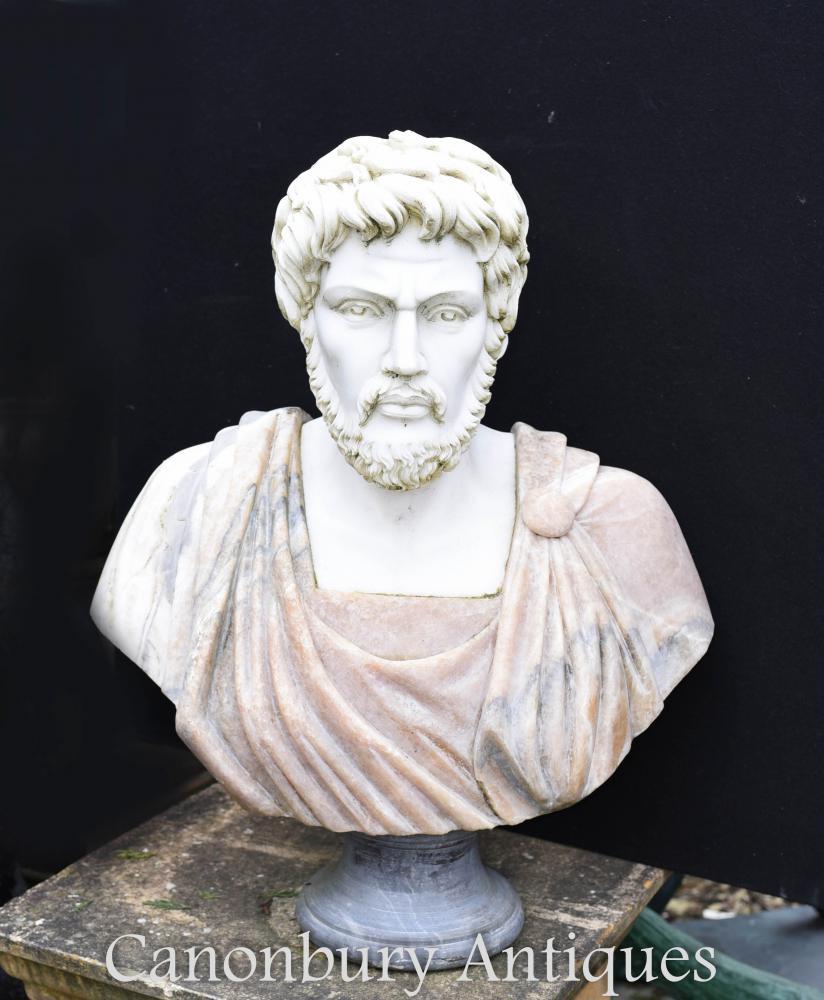 Italienischer Marmor Büste Römischer Kaiser Antoninus Pius